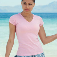 T-shirt donna Fruit of the Loom scollo a V